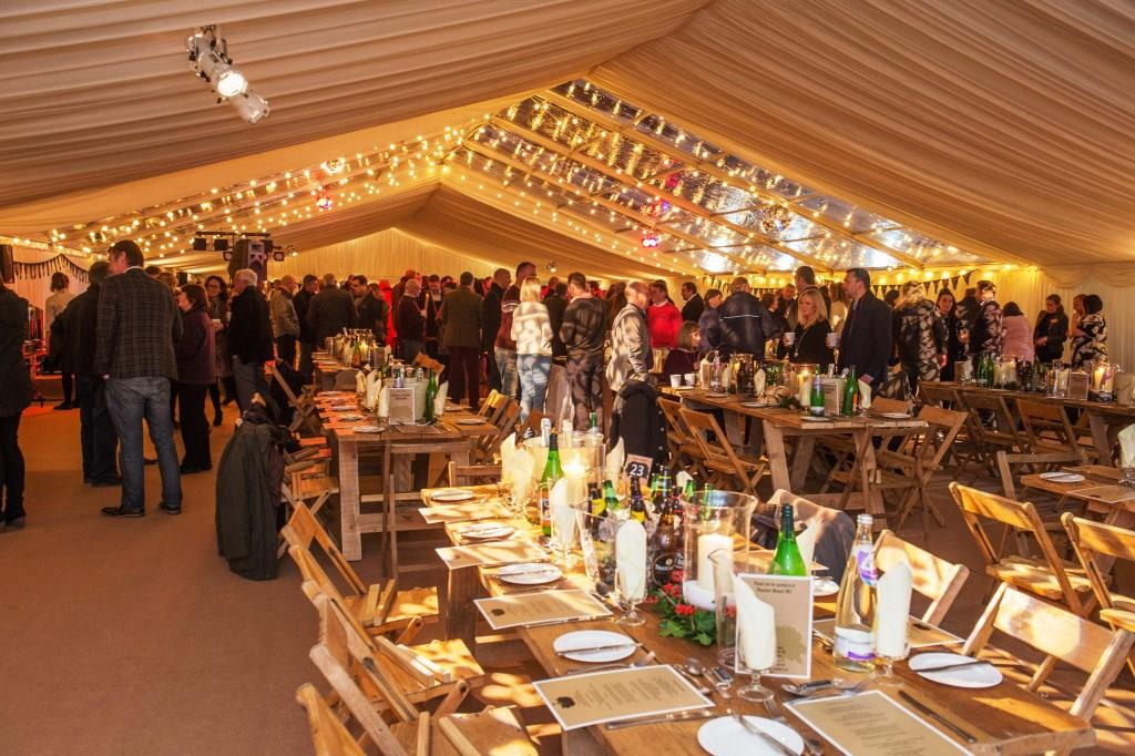 Clear roof panels in the center of the marquee look super fabulous at this event in Bristol