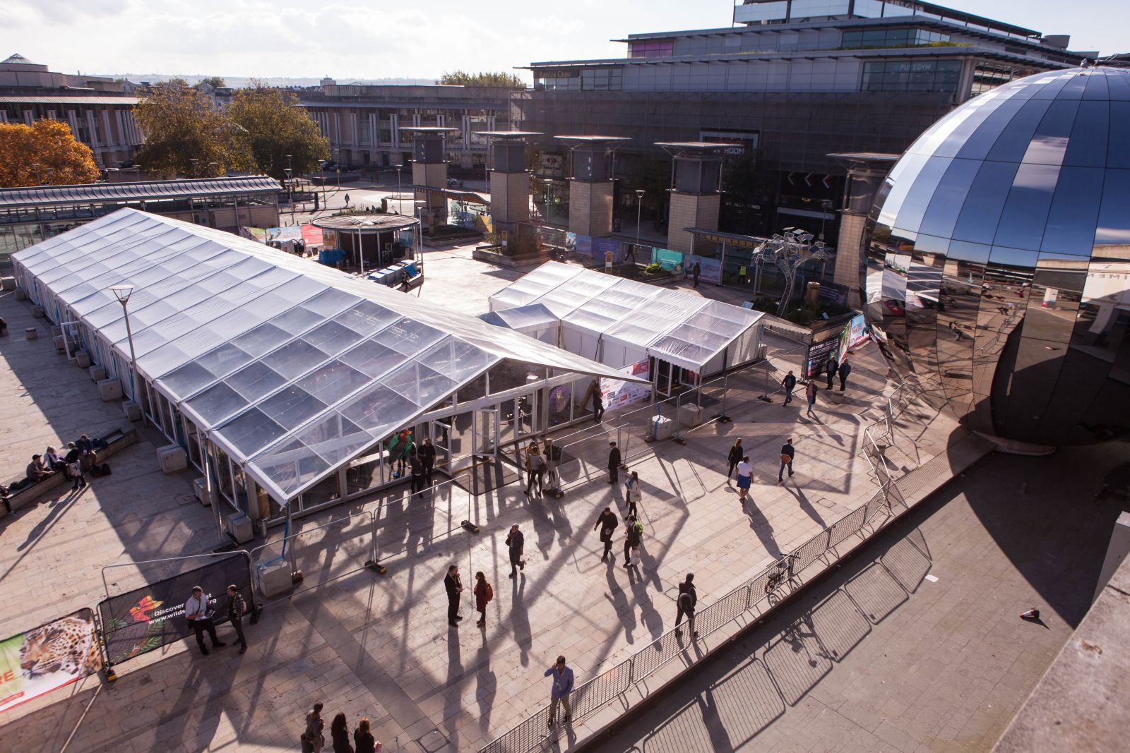 Marquee Size Guide - a large scale marquee in Bristol's Millennium Square for Wildscreen
