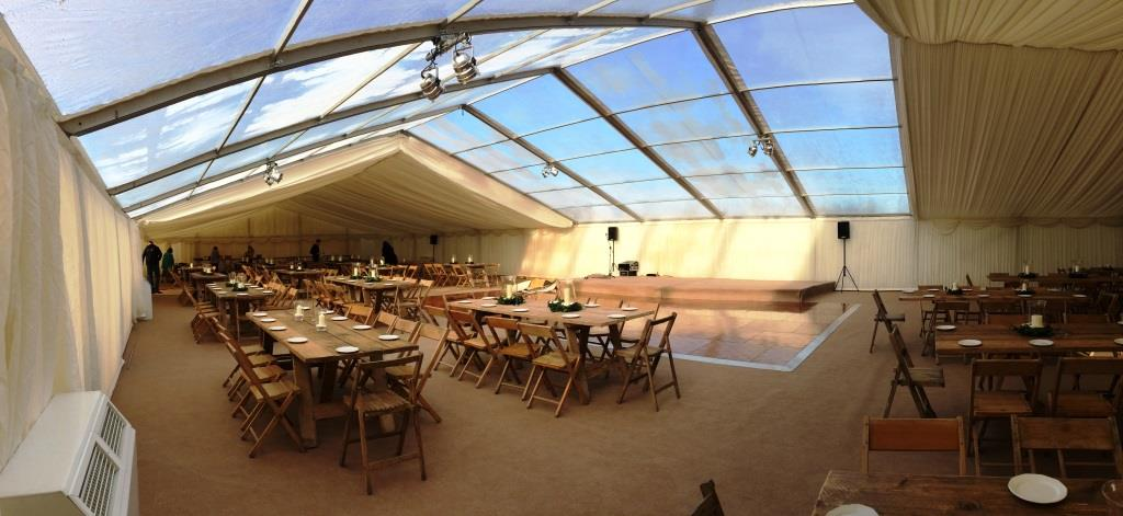 The glorious sun shines through the clear roof panels of this Bristol based marquee event