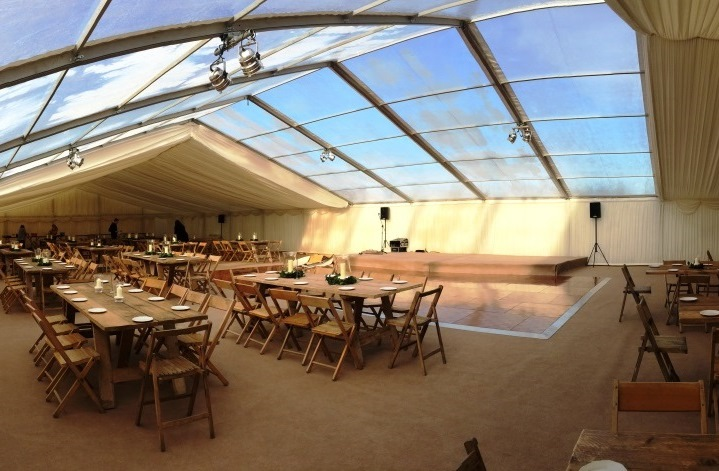 A partially clear roofed marquee for the Thatchers Wassail in January