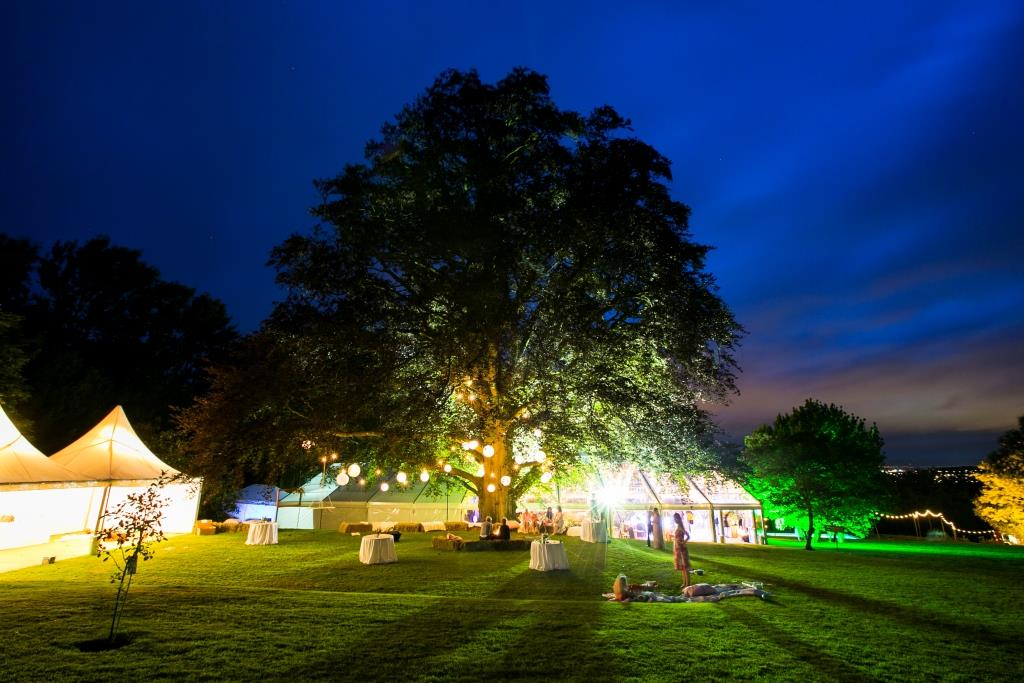 A clear marquee, lighting up its surroundings from CMC