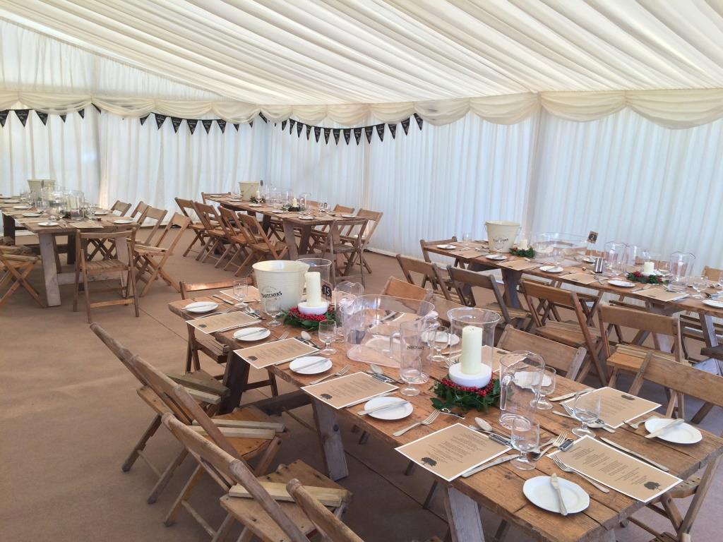 Ivy and candles used the accessories this winter marquee in the South West