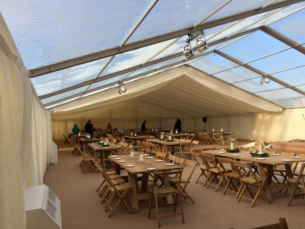 Can you spot the heater warming up this winter marquee in the South West