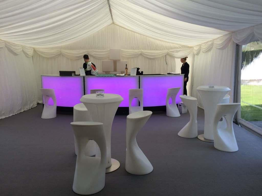 Inside the marquee with the illuminated bar on display