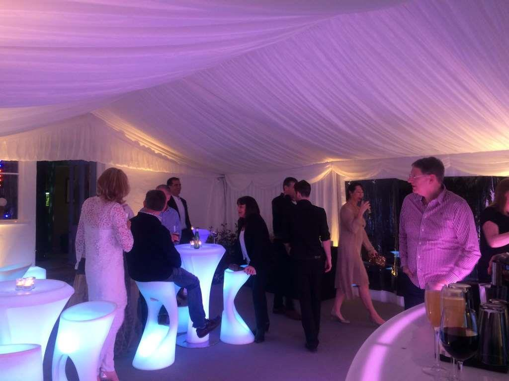Party time! The event marquee full of guests providing the perfect setting for a perfect party.