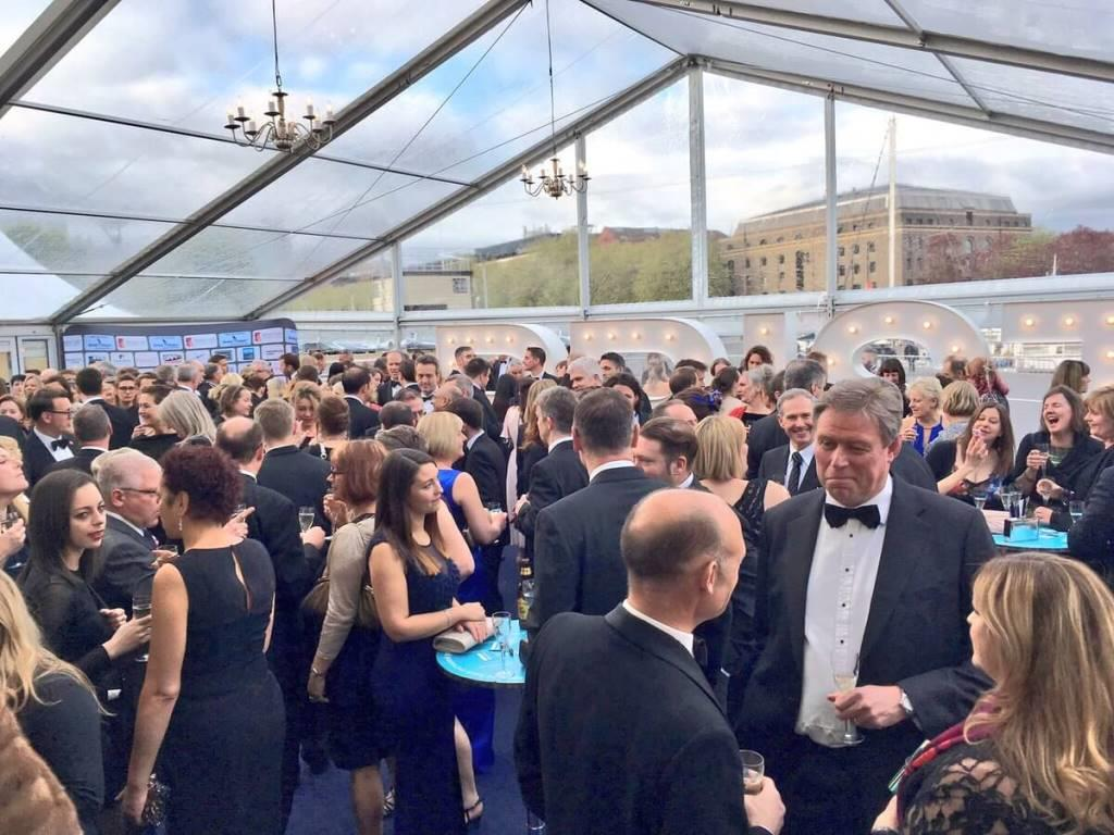 Chandeliers were used for lighting and decoration in the Bristol Life Awards marquee