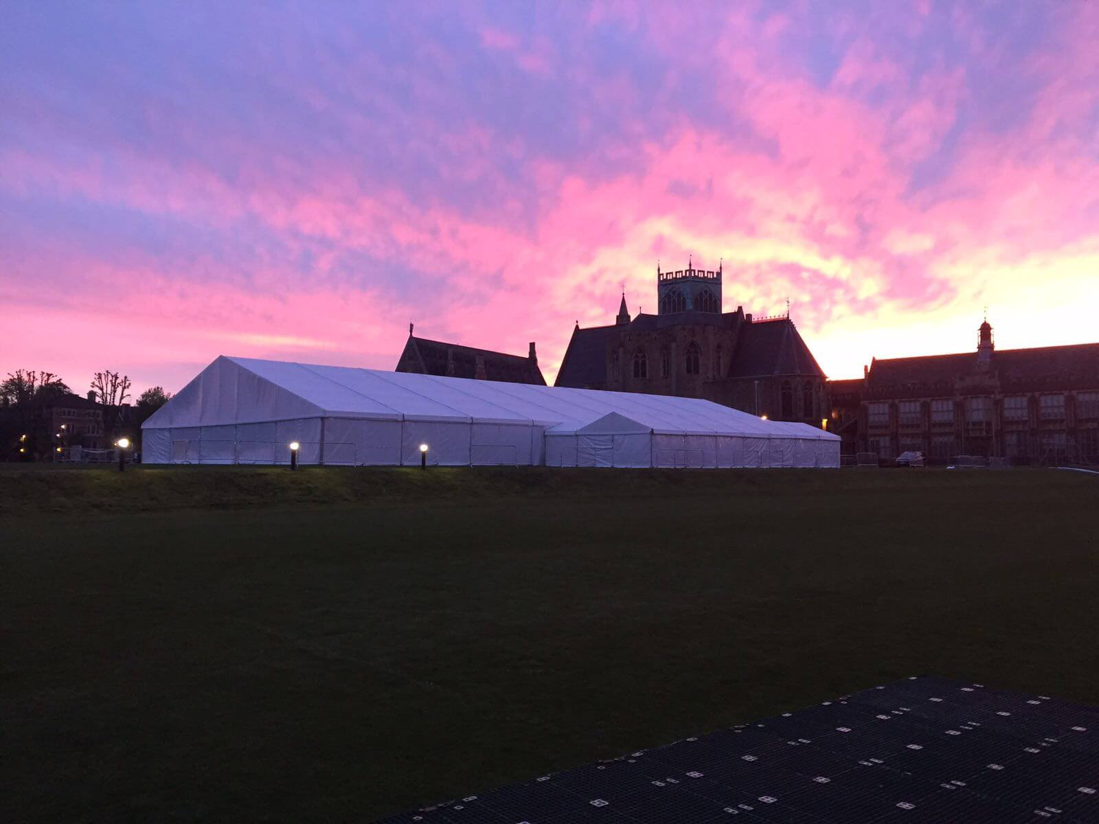 The 25m x 50m clearspan marquee looking stunning in the evening dusk