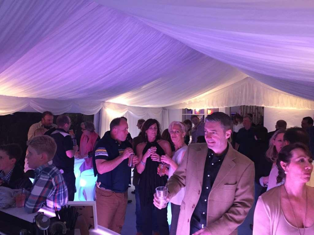 The event underway with the lighting really giving a warm feel to the marquee interior