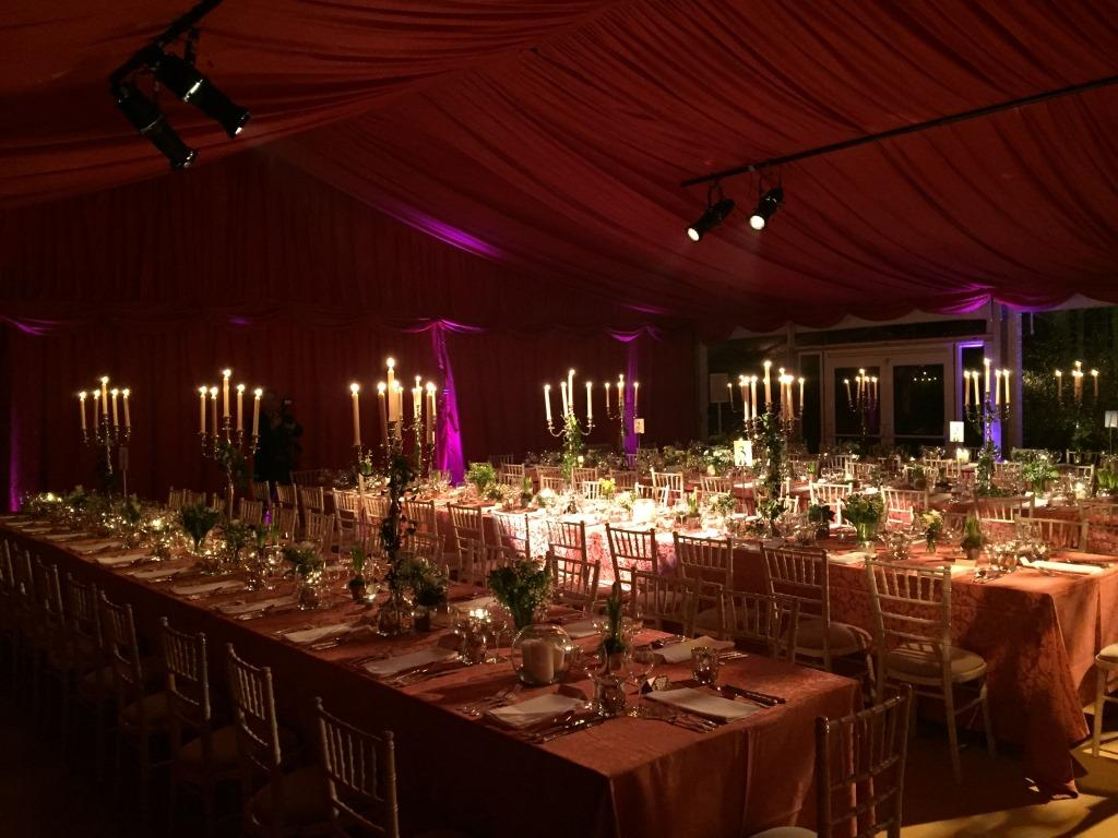 Burgundy lined marquee creates a warm winter feel at this New Years Eve wedding