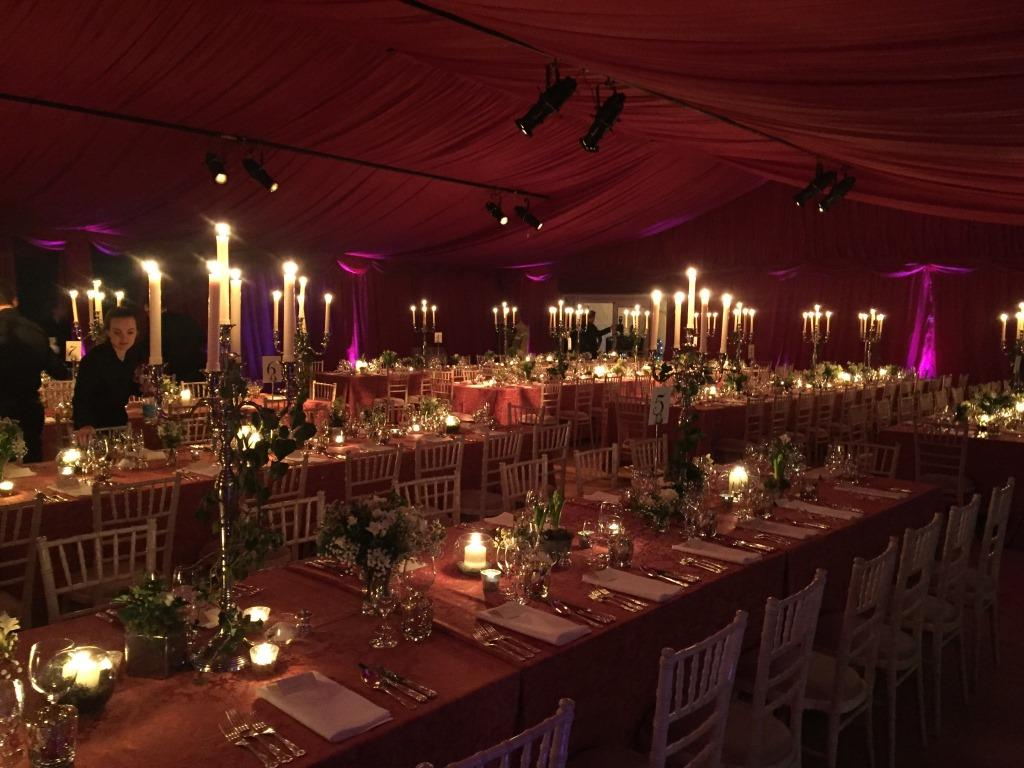 Wedding marquee lined with beautiful burgundy pleated linings
