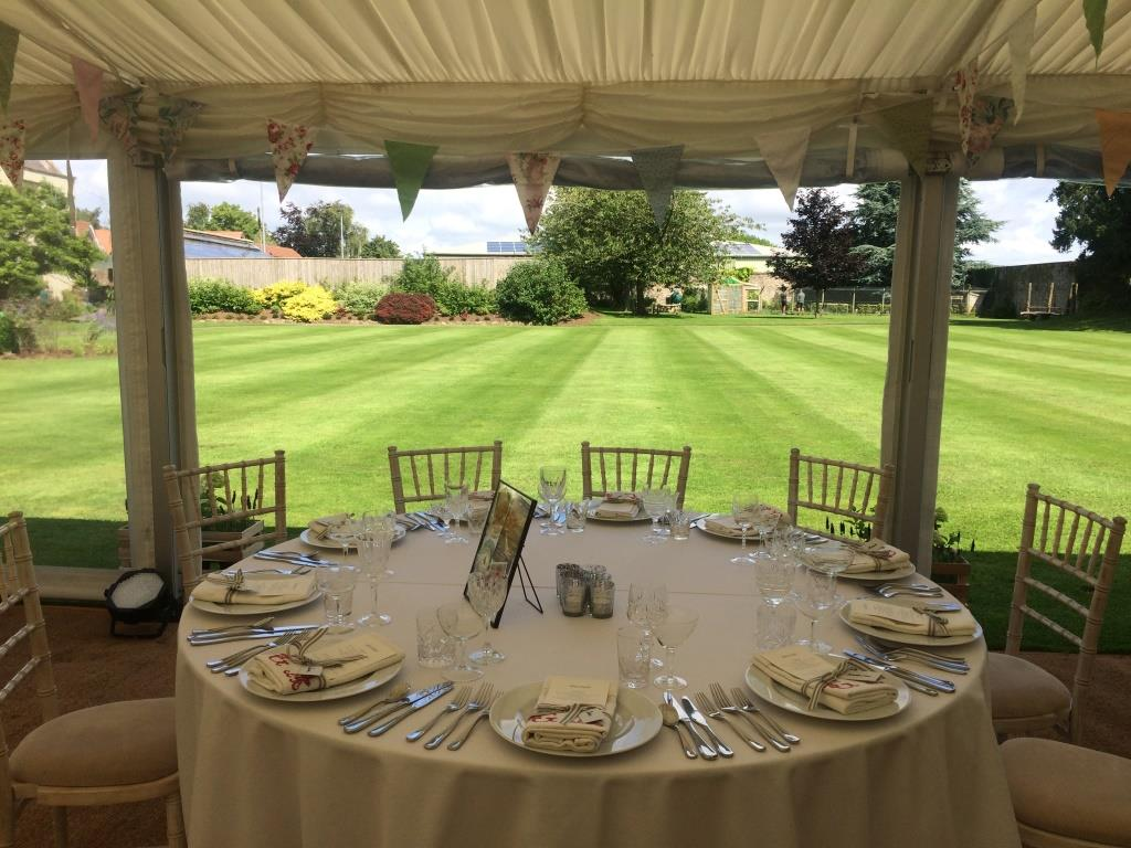 Lined marquee with panoramic windows at The Downs School
