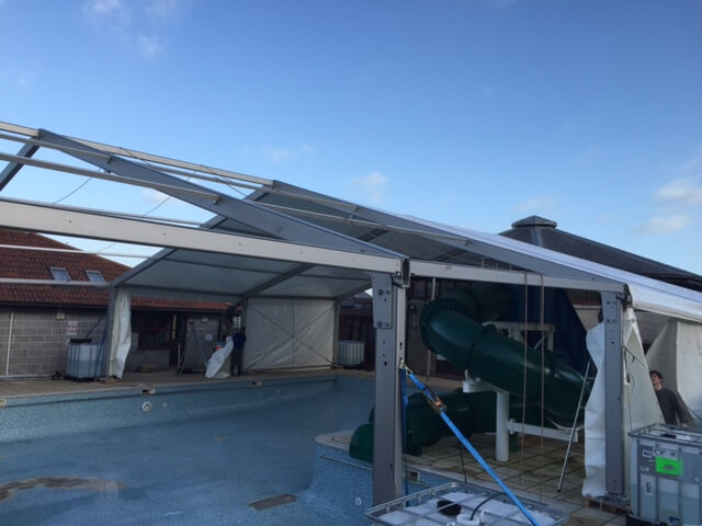 CMC's marquee protecting a swimming pool in the South West
