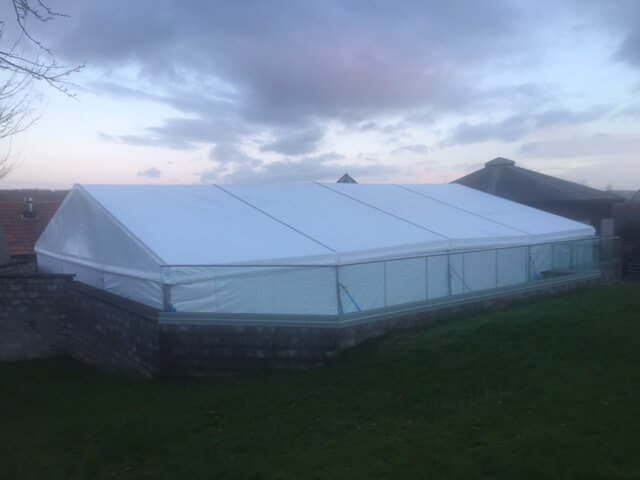 CMC's marquee standing on top of a valley in Somerset