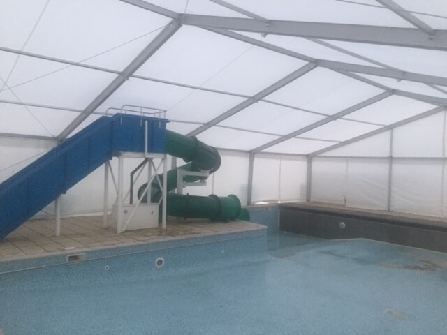 Our marquee protecting the pool and the slide