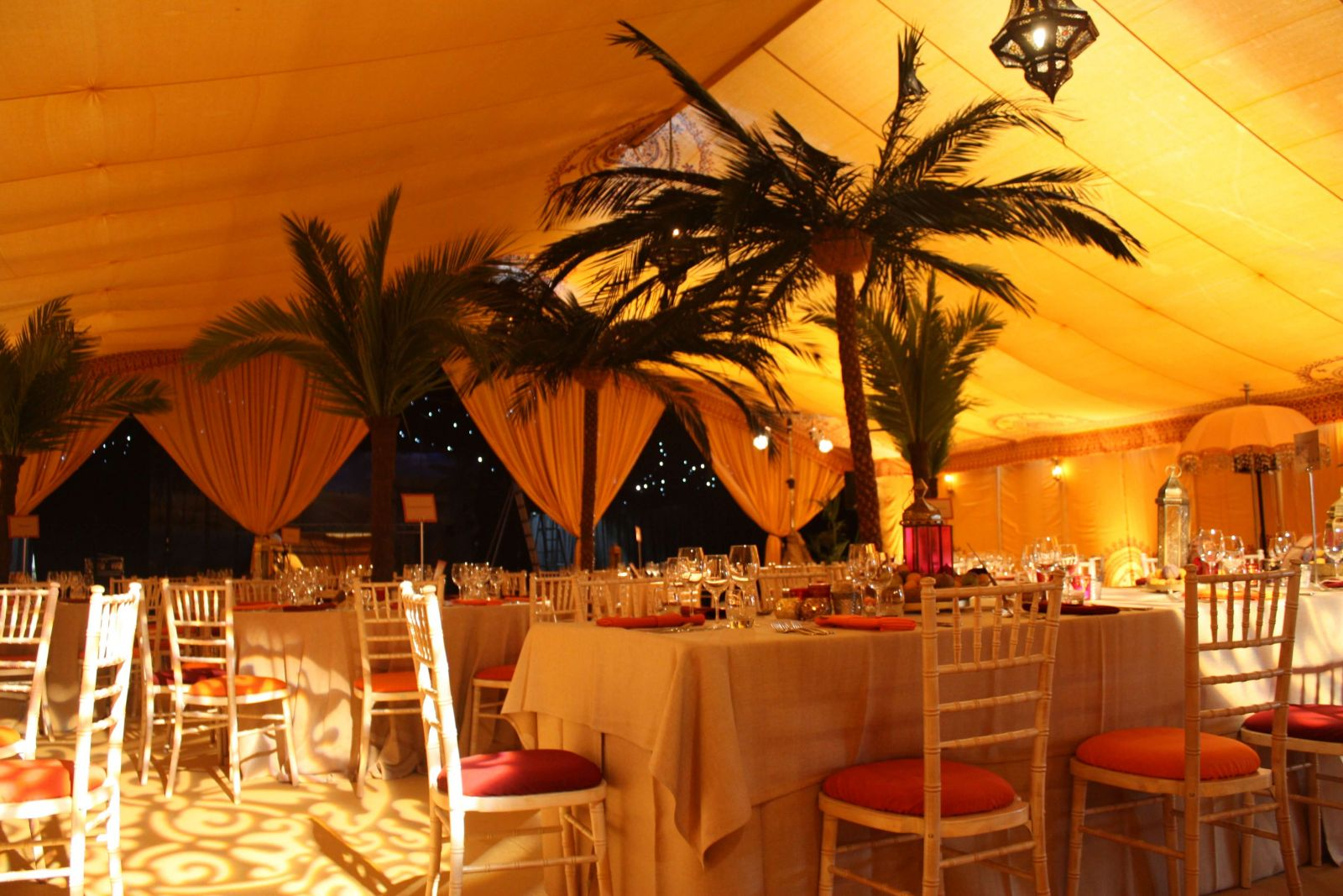 The lighting really enhances this tropical Silk Road themed birthday party in the South West