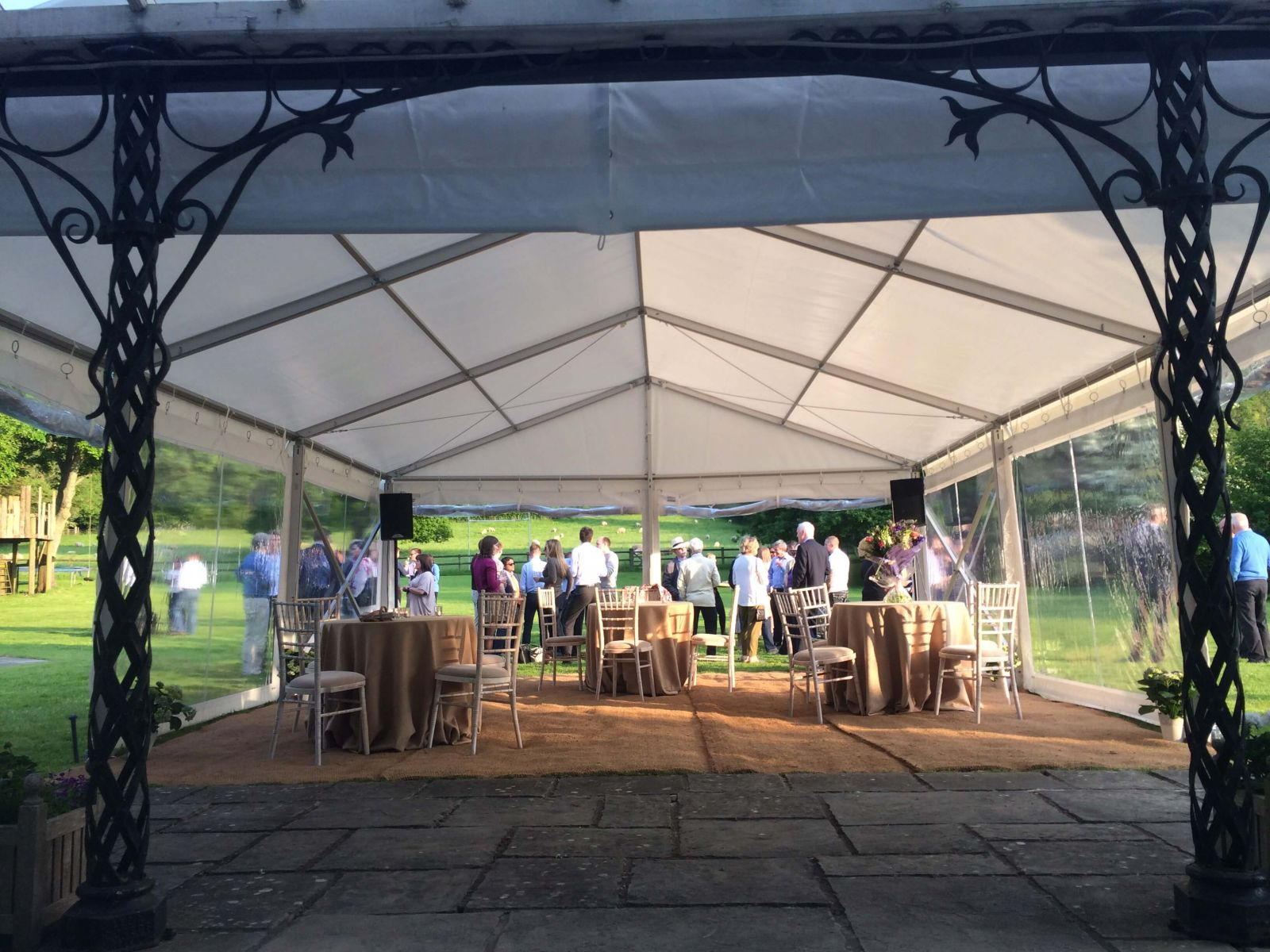 A marquee extension for a corporate event on a summers evening