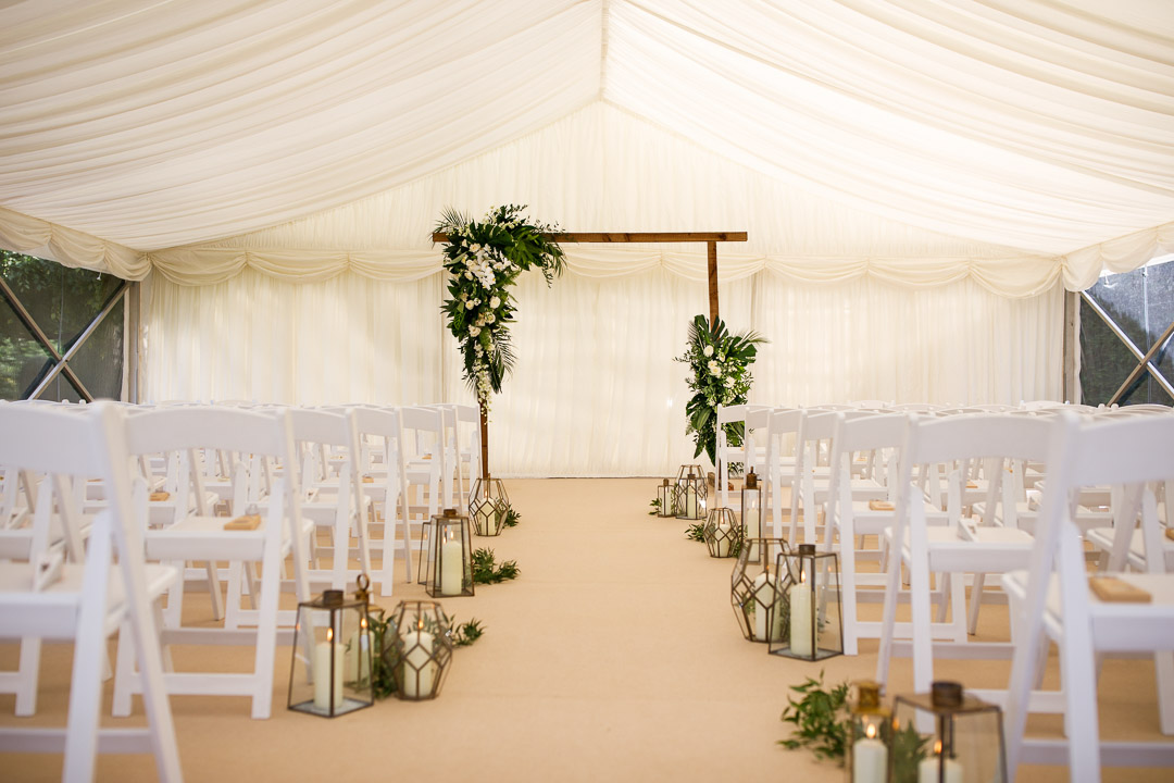 Ceremony marquee with clear walls