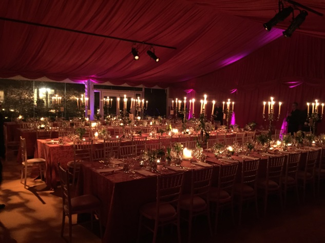A burgundy lined marquee for a divine wedding