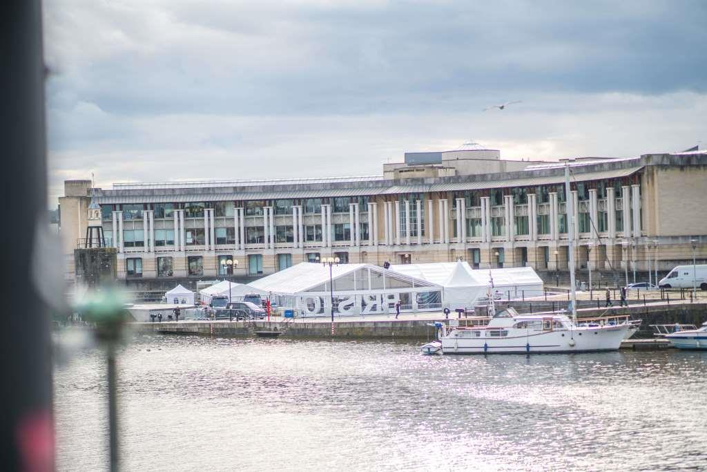 CMC's marquee standing tall on top of the Lloyds Amphitheater in Bristol