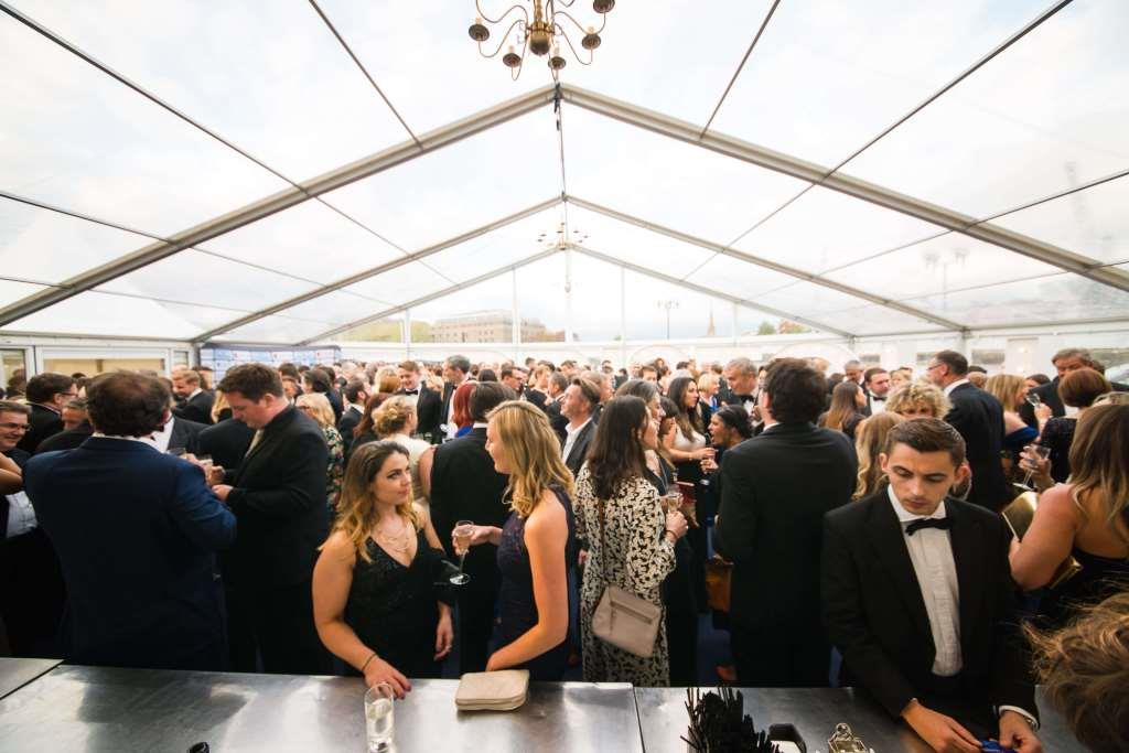 Clear roofs and clear panoramic windows make for an extremely glamorous marquee reception rea