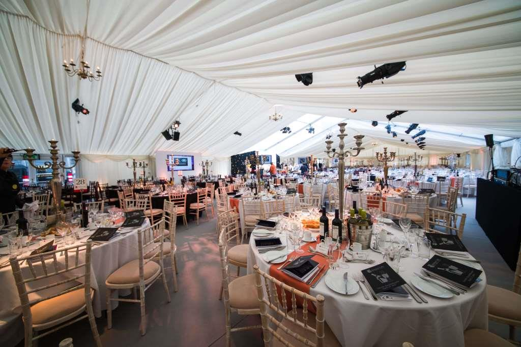 Bristol Life Awards beautifully furnished and decorated marquee interior, ready for the guests to take their seats