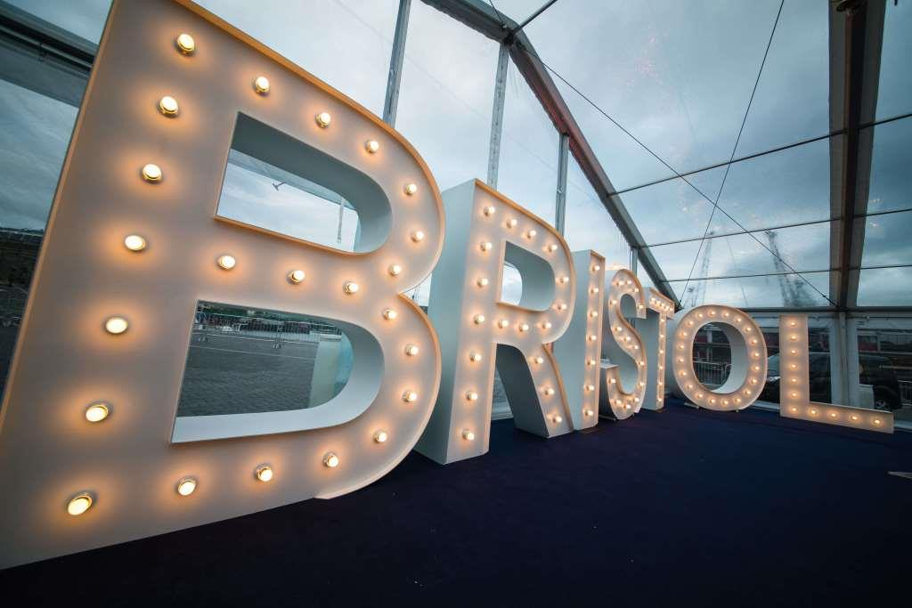Bristol large light up letters stand proud among the clear reception area