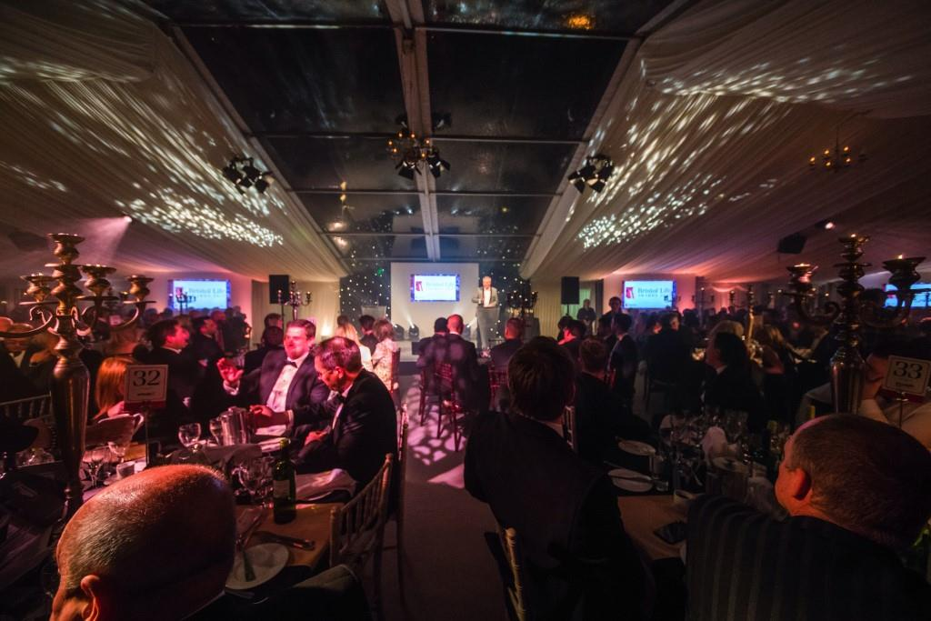 Clear roof panels to create the a stylish focal point over the stage at an awards ceremony in Bristol