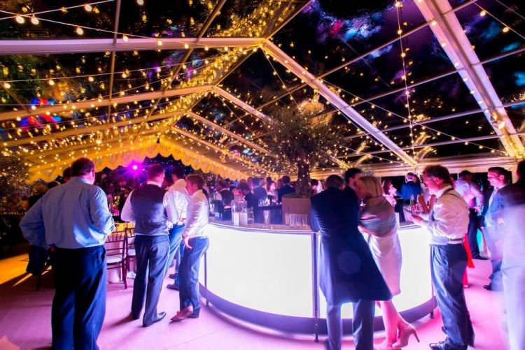 An LED bar makes the perfect centerpiece for your marquee celebration, build by The Waiting Game